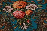 Платок шерстяной с турецким орнаментом изумрудный, фото 3