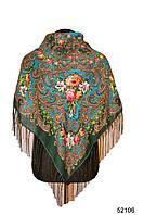 Платок шерстяной с турецким орнаментом изумрудный