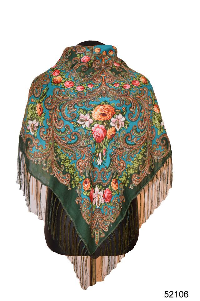 Платок шерстяной с турецким орнаментом изумрудный 1