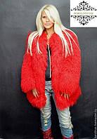 Одностороннее меховое пальто из цельных шкур ламы, цвет красный, длина 80-85 см
