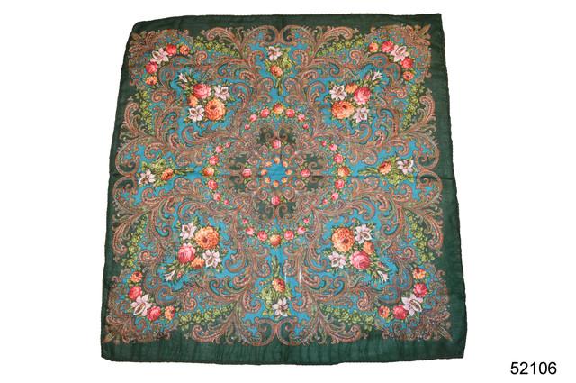 Платок шерстяной с турецким орнаментом изумрудный 2