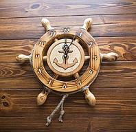 Деревянные часы Штурвал 37 см ручной работы. Подарок в морском стиле