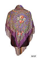 Платок шерстяной с турецким орнаментом сиреневый, фото 1