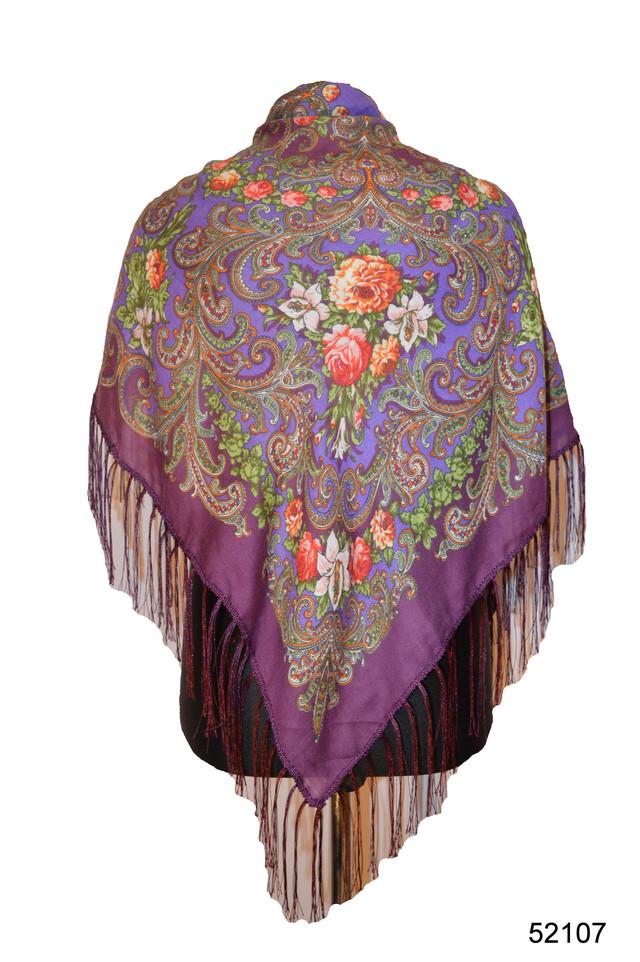 Платок шерстяной с турецким орнаментом сиреневый 1