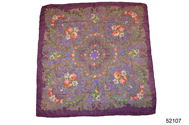 Платок шерстяной с турецким орнаментом сиреневый 2