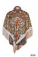 Платок шерстяной с турецким орнаментом белый