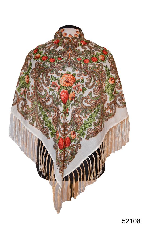 Платок шерстяной с турецким орнаментом белый 1