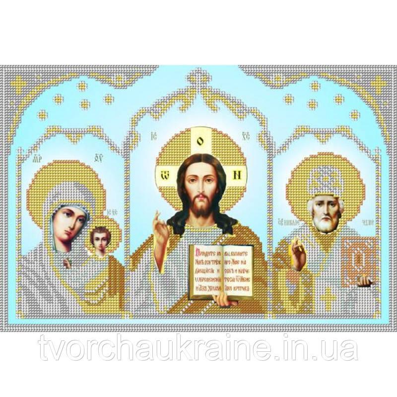 Схема на ткани для вышивания бисером Домашний иконостас (серебро)