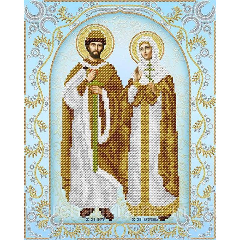Схема на ткани для вышивания бисером Святые Пётр и Феврония (серебро)