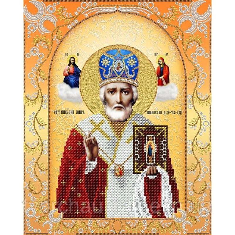 Схема на ткани для вышивания бисером Святой Николай Чудотворец (золото)
