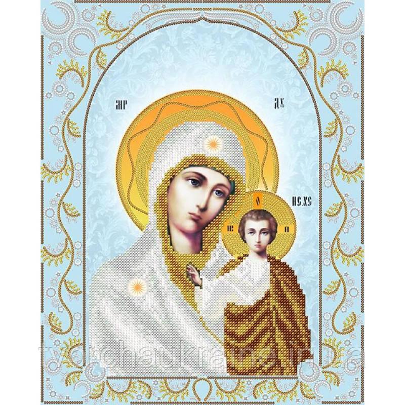 Схема на ткани для вышивания бисером Казанская Икона Божией Матери (серебро)