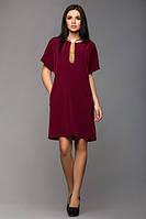 Трикотажное бордовое  платье с украшением  Лиза  Leo Pride 44-46 размеры