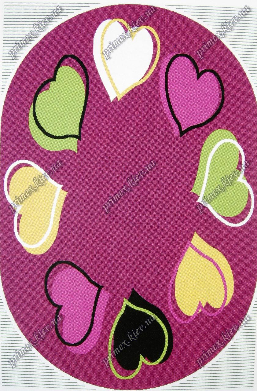 """Дитячий синтетичний килим """"Серця"""", колір фіолетовий"""