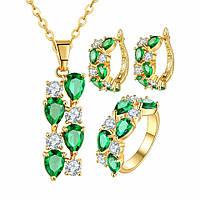 Комплект позолоченный с зелеными и белыми цирконами: серьги, кольцо, кулон, цепочка