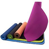 Коврик для йоги и фитнеса OSPORT TPE+TC 183х61см, 6мм