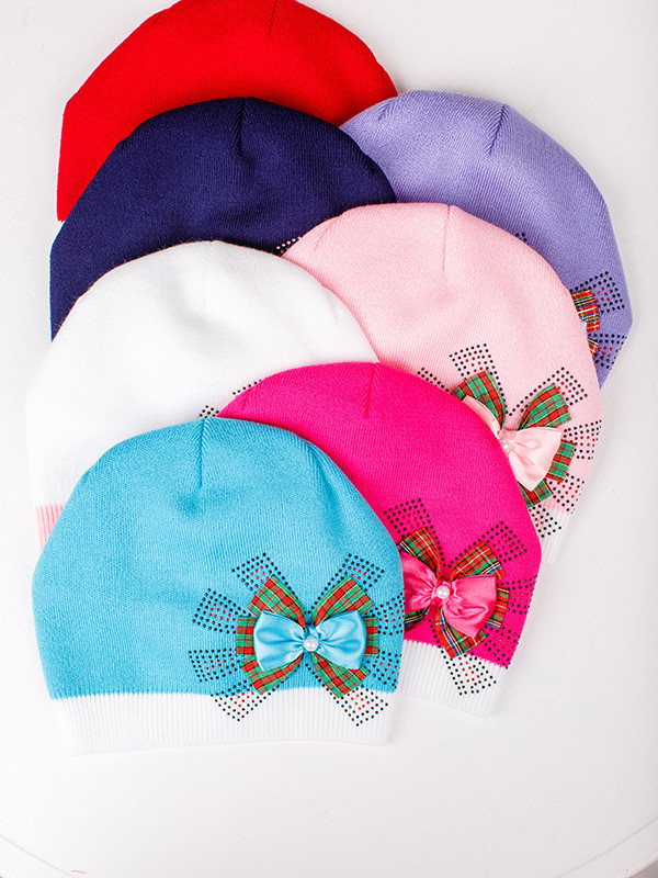 Детская шапка Шотландка Для девочек, Белый