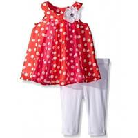 Детский комплект для девочки красный в горошек 86