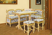 Уголок кухонный дубовый + стол + табуретки 120/150х48х80 см. дуб лак, орех лак