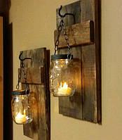 Декоративный подсвечник из дерева и стекла