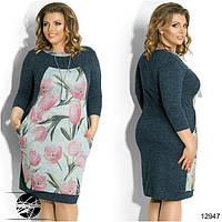 Женское платье синего цвета с цветочным рисунком из ангоры в больших размерах. Модель 12947.