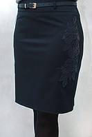 Женская синяя юбка с вставками эко - кожи