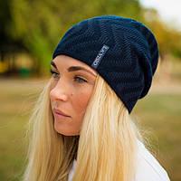 Стильная двухсторонняя женская шапка (цвет - черный)