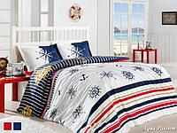 Двуспальный двусторонний евро комплект постельного белья First Choice Aqua Passion, ранфорс, Турция
