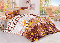 Двуспальный двусторонний евро комплект постельного белья First Choice Argos oranj, ранфорс, Турция