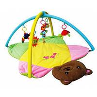 Мягкий коврик для новорожденных Мишка с погремушками 898-8B, в сумке 77х6х60