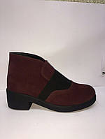 Женские весенние  замшевые ботинки марсал.