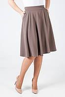 Женская трикотажная юбка-полусонце Мелани бежевого цвета