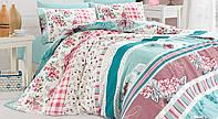 Двуспальный двусторонний евро комплект постельного белья First Choice Bennu Turkuaz, ранфорс, Турция