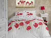 Двуспальный двусторонний евро комплект постельного белья First Choice Bozca Kirmizi, ранфорс, Турция
