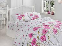 Двуспальный двусторонний евро комплект постельного белья First Choice Bozca Pembe, ранфорс, Турция
