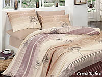 Двуспальный двусторонний евро комплект постельного белья First Choice Cemre Kahve, ранфорс, Турция