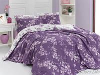 Двуспальный двусторонний евро комплект постельного белья First Choice Dilara lila, ранфорс, Турция