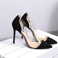 Туфли женские лодочки на шпильке Vices Glass черные 3390