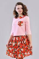 Весенний подростковый костюмчик из кофточки и юбки.