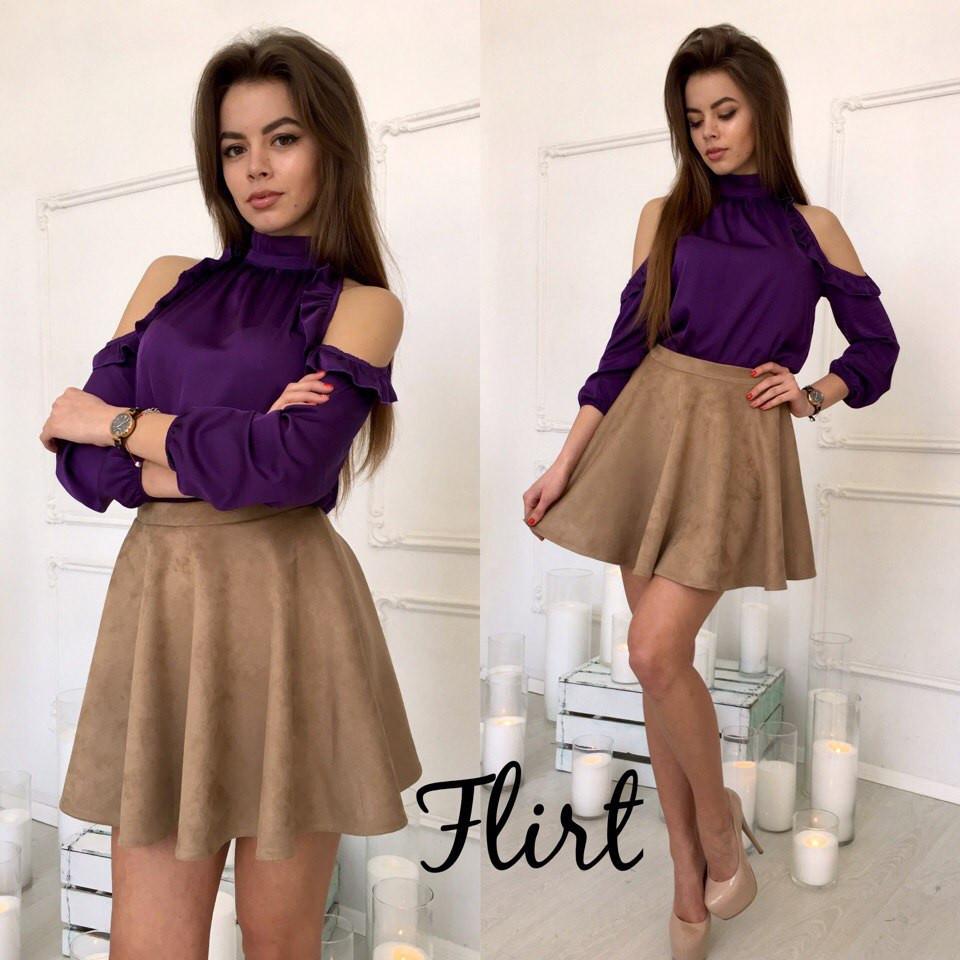 Костюм блуза шёлк юбка расклешонная замш