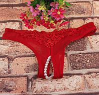 Сексуальные трусики с бусинками красные