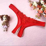 Сексуальні трусики з намистинками червоні, фото 3