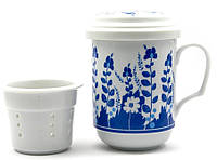 """Чашка заварочная с ситом (330 мл) """"Синие цветы"""""""