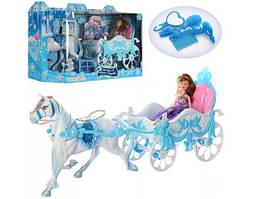 Карета 689Y-2 с лошадью, 51см, кукла 22см, аксессуары, в кор-ке, 56,5-33-18см