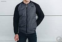 Весенне-осенняя куртка (бомбер) Staff - Melange black Art. BR20004 (чёрный \ серый)