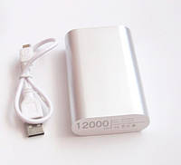 Универсальная мобильная батарея (в стиле mi Xiaomi mobile power bank) 12000 mAh, silver