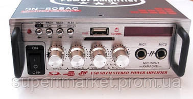 Усилитель звука  ресивер  UKC SN-808AC + Karaoke,  MP3 SD USB AUX FM 12v   220v
