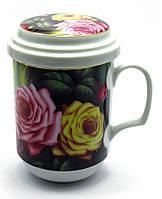 """Чашка заварочная с ситом (330 мл) """"Розы"""""""