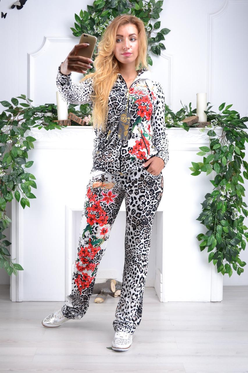 """Жіночий спортивний велюровий костюм """"Eze,"""" леопард принт троянди, розм з 42 по 54"""