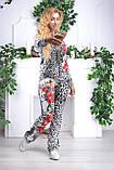 """Жіночий спортивний велюровий костюм """"Eze,"""" леопард принт троянди, розм з 42 по 54, фото 2"""