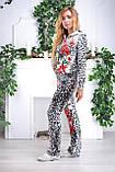 """Жіночий спортивний велюровий костюм """"Eze,"""" леопард принт троянди, розм з 42 по 54, фото 3"""